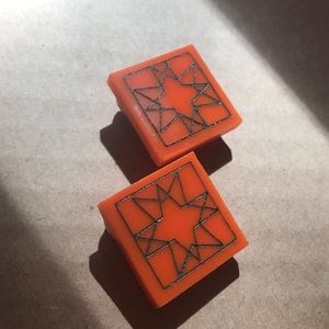 Geometric orange and green acrylic stud earrings